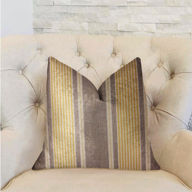 "Plutus Brands Graceful Bridge Yellow and Gray Luxury Throw Pillow 26"" x 26"" (PBRA2316-2626-DP)"