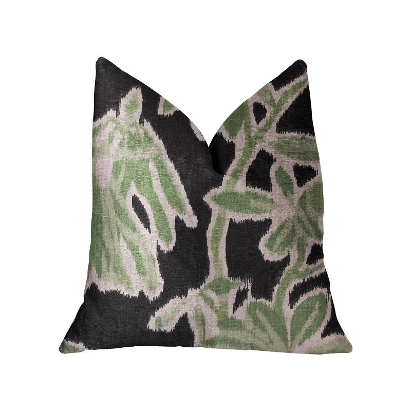 """Plutus Brands Grass Swallow Green and Black and Beige Luxury Throw Pillow 16"""" x 16"""" (PBRA2226-1616-DP)"""
