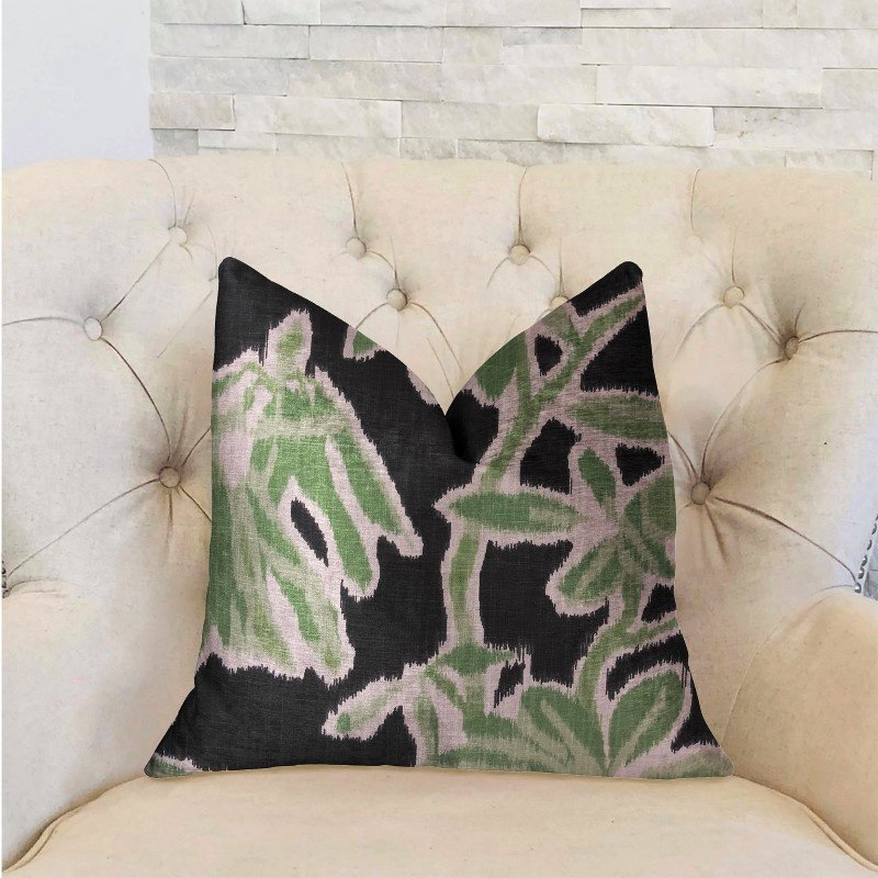 "Plutus Brands Grass Swallow Green and Black and Beige Luxury Throw Pillow 20"" x 26"" Standard (PBRA2226-2026-DP)"