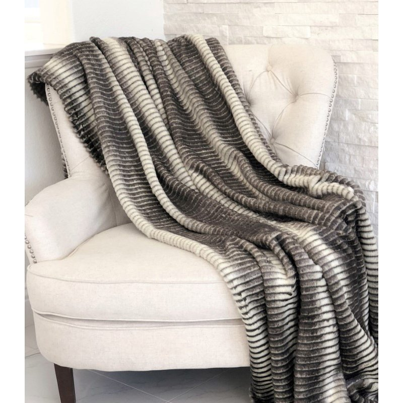 "Plutus Brands Gray and Taupe Faux Fur Luxury Throw Blanket 108""L x 90""W Full - Queen (PBEZ1664-108x90T)"