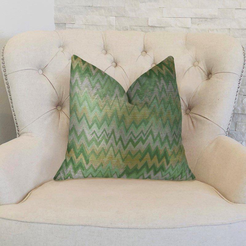 "Plutus Brands Green Fair Green Citrine and Taupe Handmade Luxury Pillow 22"" x 22"" (PBRAZ351-2222-DP)"