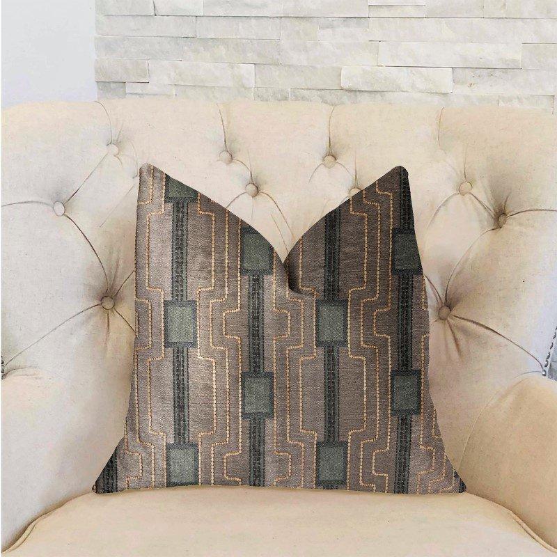 "Plutus Brands Gusto Square Blue Luxury Throw Pillow 20"" x 36"" King (PBRA2324-2036-DP)"