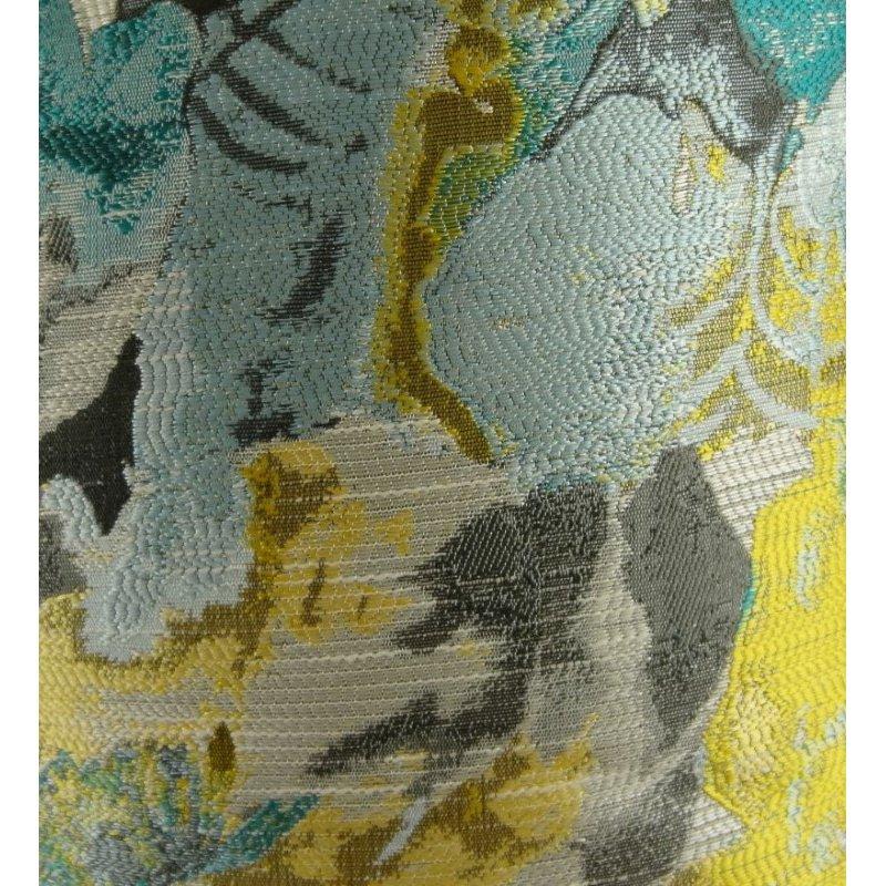 "Plutus Brands Haven Bush Turquoise Gray and Yellow Handmade Luxury Pillow 20"" x 20"" (PBRAZ128-2020-DP)"