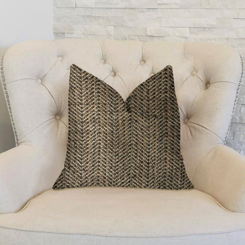"Plutus Brands Honeybee Brown Shades Luxury Throw Pillow 24"" x 24"" (PBKR1978-2424-DP)"