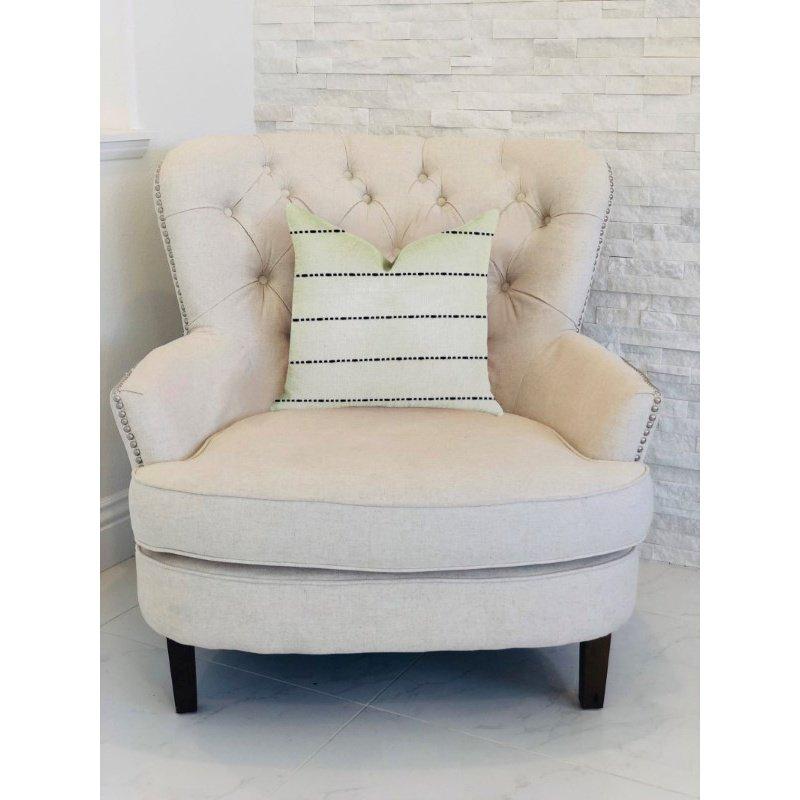 "Plutus Brands Interweave Vanilla Bean Luxury Throw Pillow in Black and White Pillows 24"" x 24"" (PBRA1376-2424-DP)"