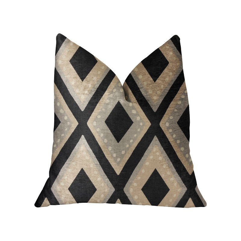 "Plutus Brands Jager Dotz Blue and Beige Luxury Throw Pillow 12"" x 20"" (PBRA2220-1220-DP)"