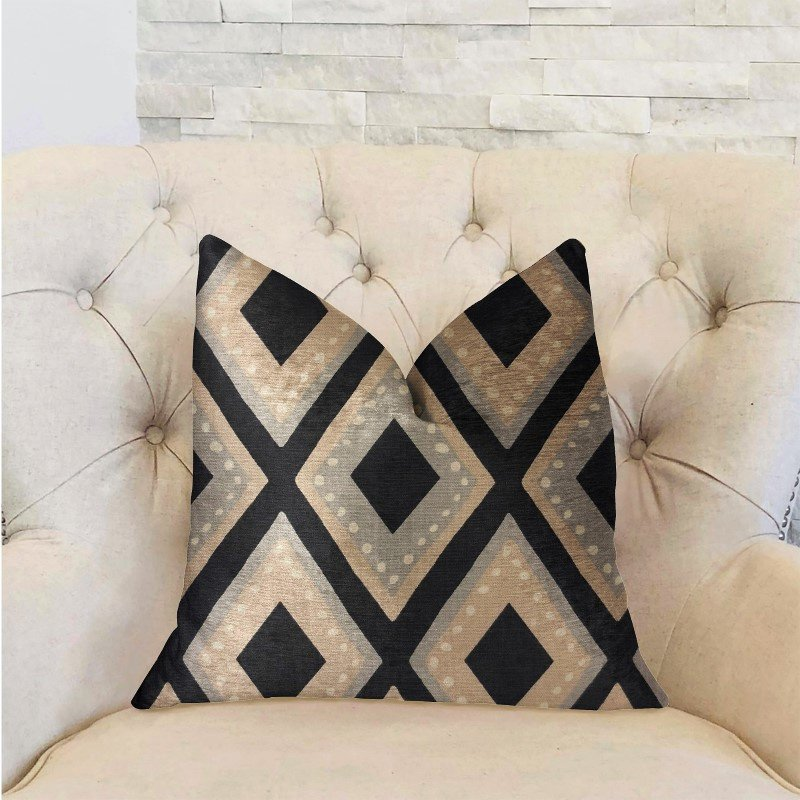 "Plutus Brands Jager Dotz Blue and Beige Luxury Throw Pillow 16"" x 16"" (PBRA2220-1616-DP)"