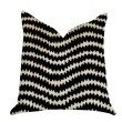 """Plutus Brands Jagged Fringe Luxury Throw Pillow in Black and Beige Pillows 16"""" x 16"""" (PBRA1377-1616-DP)"""