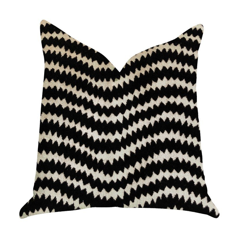 """Plutus Brands Jagged Fringe Luxury Throw Pillow in Black and Beige Pillows 26"""" x 26"""" (PBRA1377-2626-DP)"""