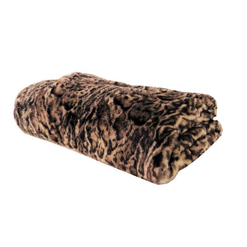 """Plutus Brands Jungle Cat Faux Fur Luxury Throw 60""""W x 72""""L (PBEZ1667-6072-TC)"""