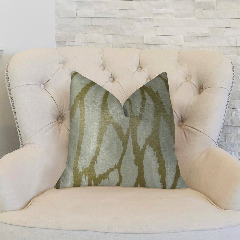 """Plutus Brands Kailua Branch Taupe Ivory Handmade Luxury Pillow Double Sided 24"""" x 24"""" (PBRAZ392-2424-DP)"""