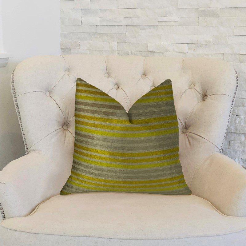 "Plutus Brands Kaleva Lime and Gray Handmade Luxury Pillow 12"" x 20"" (PBRAZ214-1220-DP)"