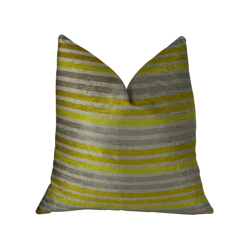 "Plutus Brands Kaleva Lime and Gray Handmade Luxury Pillow 18"" x 18"" (PBRAZ214-1818-DP)"