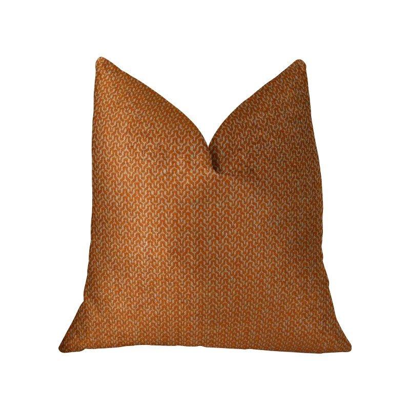 "Plutus Brands Kashmiri Oak Orange and Taupe Handmade Luxury Pillow 20"" x 26"" Standard (PBRAZ276-2026-DP)"