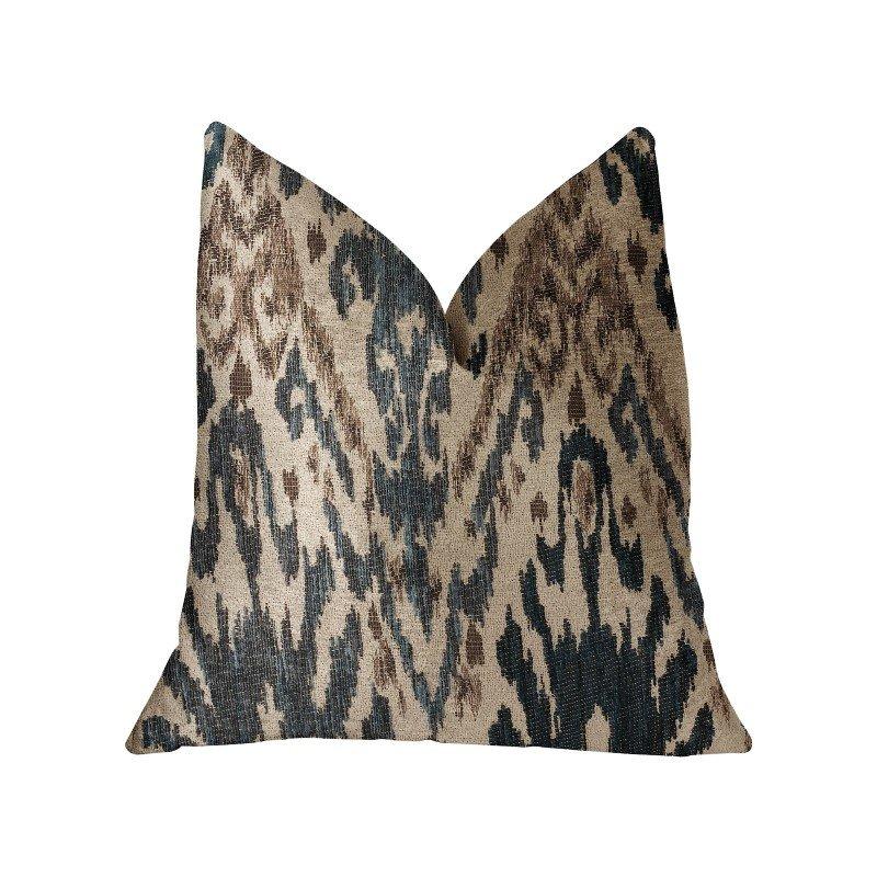 "Plutus Brands Kaveh Green Beige and Brown Luxury Throw Pillow 18"" x 18"" (PBRA2214-1818-DP)"