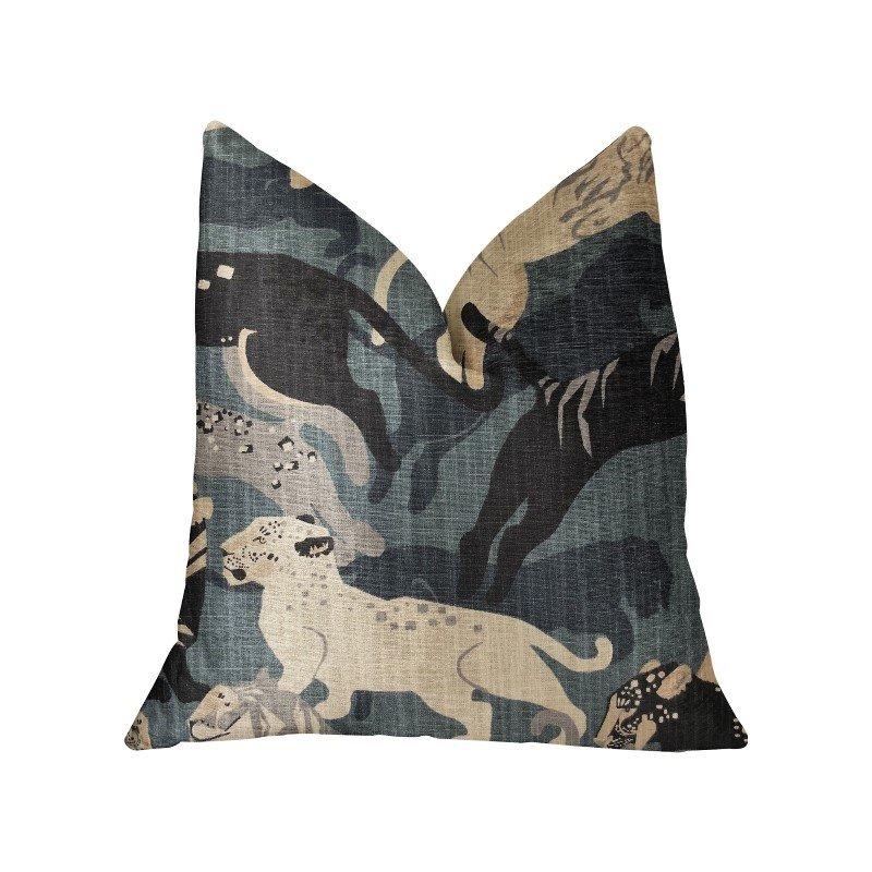 "Plutus Brands Kimono Tiger Blue and Beige Luxury Throw Pillow 18"" x 18"" (PBRA2216-1818-DP)"