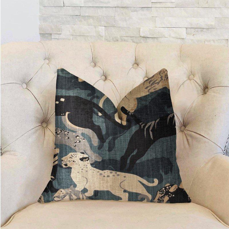 "Plutus Brands Kimono Tiger Blue and Beige Luxury Throw Pillow 22"" x 22"" (PBRA2216-2222-DP)"
