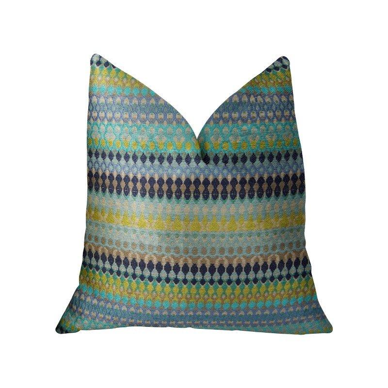 """Plutus Brands Lake Marsh Turquoise Yellow and Navy Handmade Luxury Pillow 16"""" x 16"""" (PBRAZ129-1616-DP)"""