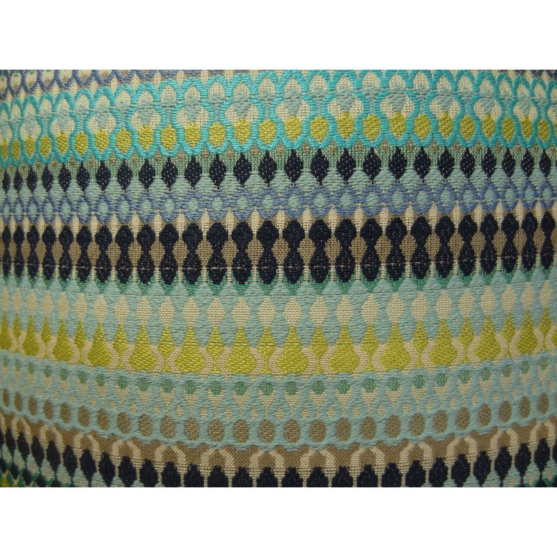 "Plutus Brands Lake Marsh Turquoise Yellow and Navy Handmade Luxury Pillow 26"" x 26"" (PBRAZ129-2626-DP)"