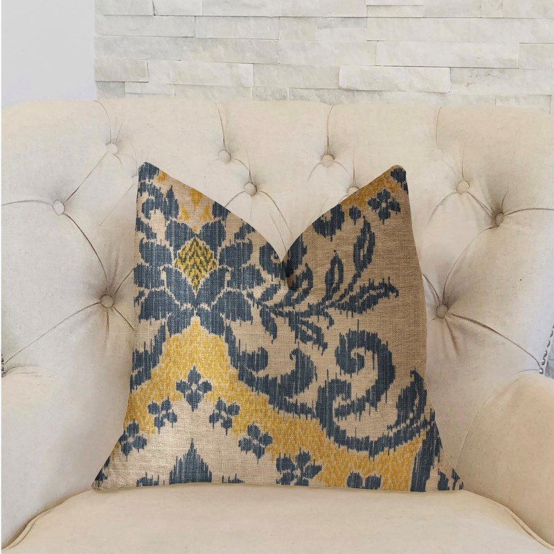 "Plutus Brands Lasso Blue Beige and Yellow Luxury Throw Pillow 18"" x 18"" (PBRA2238-1818-DP)"