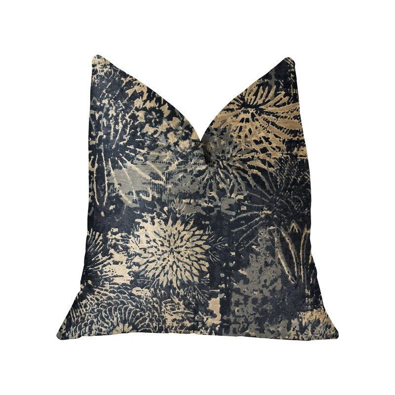 "Plutus Brands Lazuli Blue and Beige Luxury Throw Pillow 18"" x 18"" (PBRA2237-1818-DP)"
