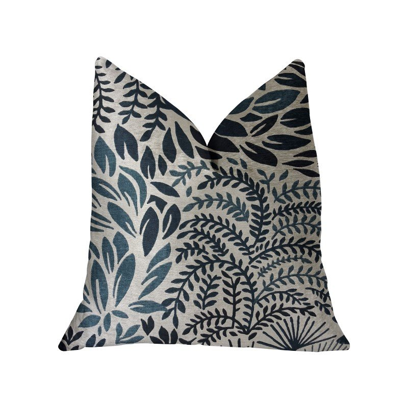 """Plutus Brands Leaf Snap Blue and Beige Luxury Throw Pillow 20"""" x 20"""" (PBRA2219-2020-DP)"""
