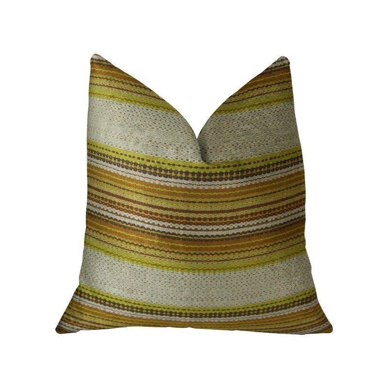 """Plutus Brands Lexington Park Cream Green and Brown Handmade Luxury Pillow 20"""" x 30"""" Queen (PBRAZ241-2030-DP)"""