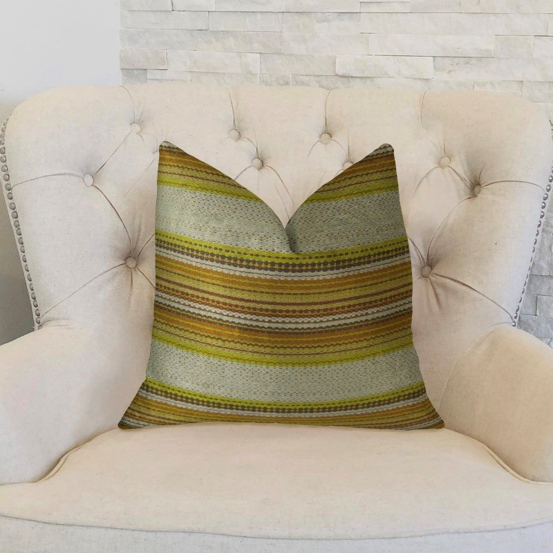 "Plutus Brands Lexington Park Cream Green and Brown Handmade Luxury Pillow 20"" x 36"" King (PBRAZ241-2036-DP)"