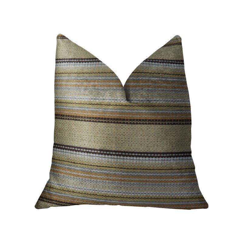 "Plutus Brands Lexington Park Taupe and Brown Handmade Luxury Pillow 26"" x 26"" (PBRAZ224-2626-DP)"