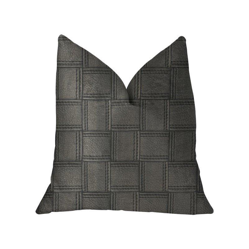 "Plutus Brands Licorice Black Artificial Leather Luxury Throw Pillow 16"" x 16"" (PBKR1959-1616-DP)"