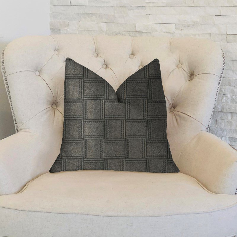 "Plutus Brands Licorice Black Artificial Leather Luxury Throw Pillow 20"" x 30"" Queen (PBKR1959-2030-DP)"
