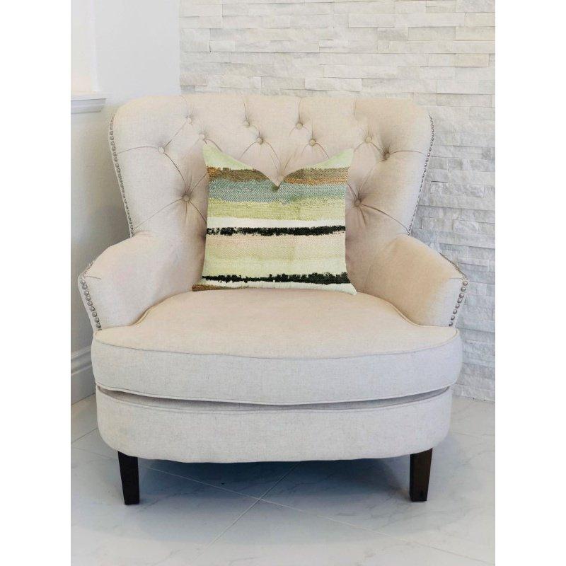 "Plutus Brands Lime Stone River Sand Multi Color Luxury Throw Pillow 18"" x 18"" (PBRA1348-1818-DP)"