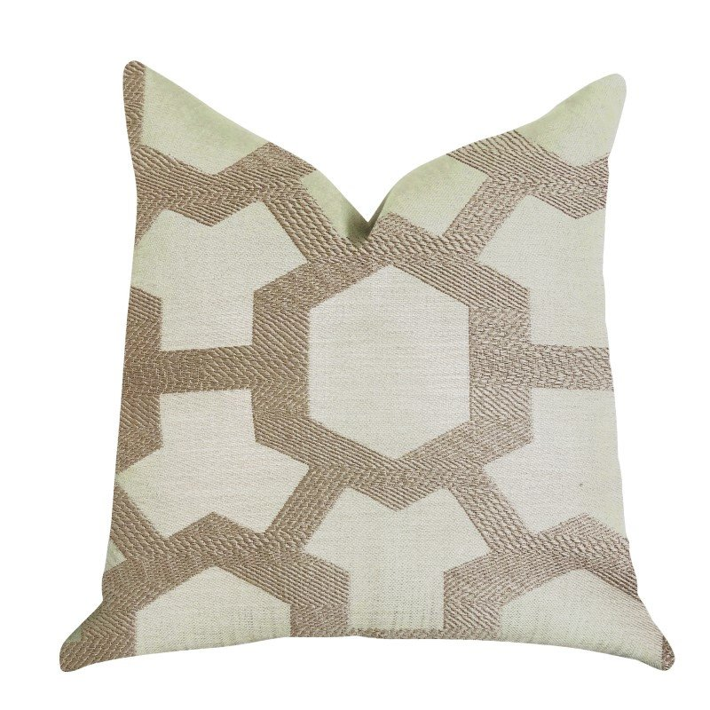 """Plutus Brands Linked Charisma Luxury Throw Pillow in Beige and Brown Tones Pillows 20"""" x 26"""" Standard (PBRA1389-2026-DP)"""