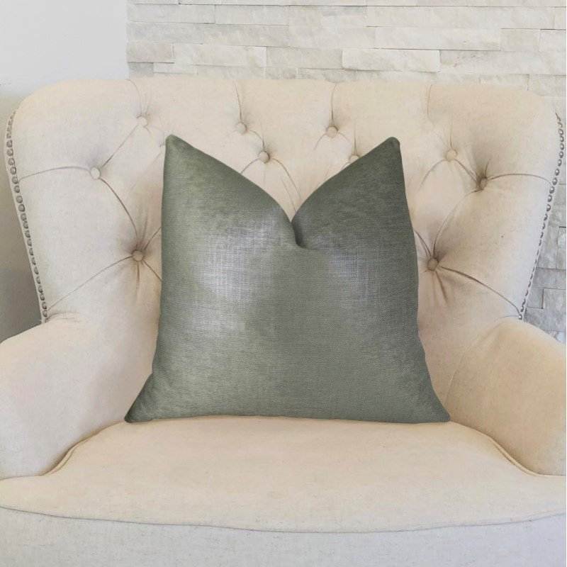 "Plutus Brands Lustrous Linen Gunmetal Grey Handmade Luxury Pillow Double Sided 16"" x 16"" (PBRAZ394-1616-DP)"