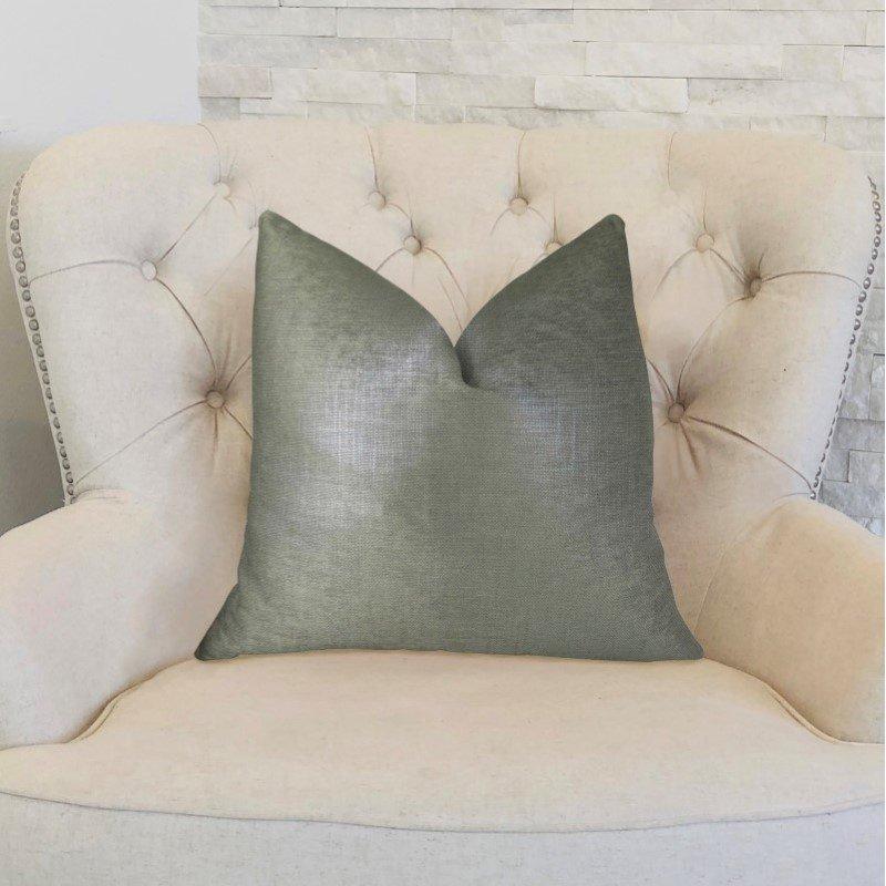 "Plutus Brands Lustrous Linen Gunmetal Grey Handmade Luxury Pillow Double Sided 18"" x 18"" (PBRAZ394-1818-DP)"