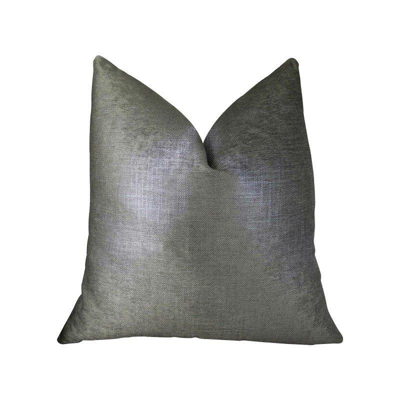 "Plutus Brands Lustrous Linen Gunmetal Grey Handmade Luxury Pillow Double Sided 26"" x 26"" (PBRAZ394-2626-DP)"