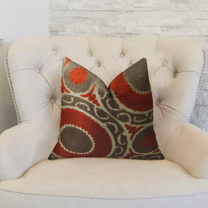 """Plutus Brands Madeline Red and Brown Handmade Luxury Pillow 22"""" x 22"""" (PBRAZ050-2222-DP)"""