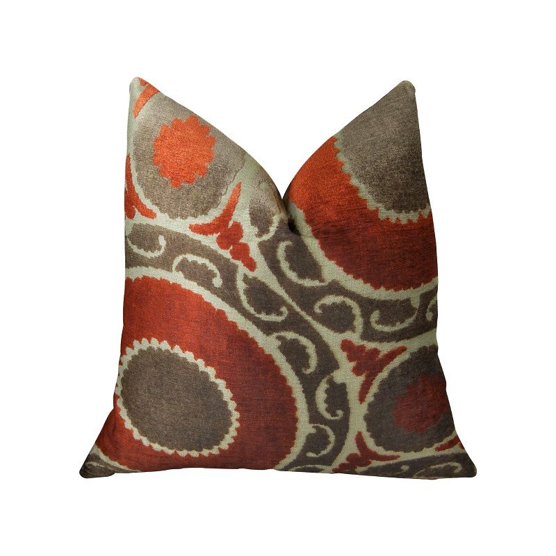 """Plutus Brands Madeline Red and Brown Handmade Luxury Pillow 26"""" x 26"""" (PBRAZ050-2626-DP)"""