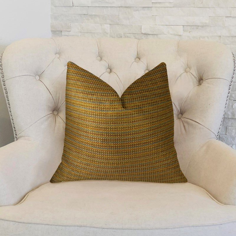 """Plutus Brands Madison Copper and Brown Handmade Luxury Pillow 22"""" x 22"""" (PBRAZ242-2222-DP)"""