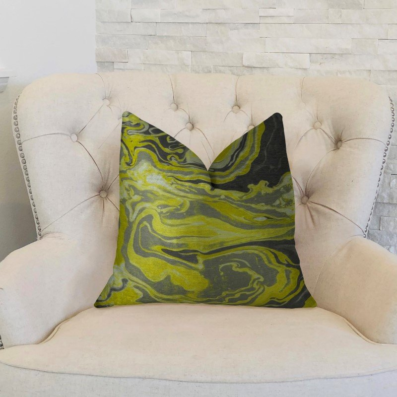 "Plutus Brands Marble Onyx Yellow Gray and Black Handmade Luxury Pillow 12"" x 20"" (PBRAZ378-1220-DP)"