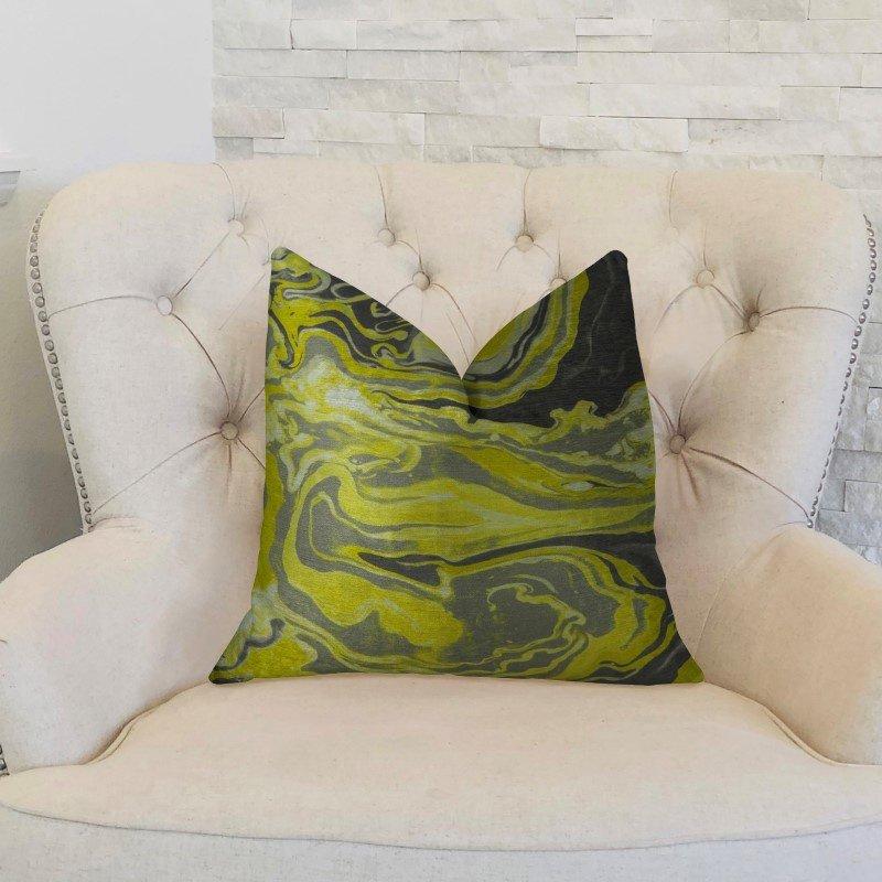 "Plutus Brands Marble Onyx Yellow Gray and Black Handmade Luxury Pillow 20"" x 30"" Queen (PBRAZ378-2030-DP)"