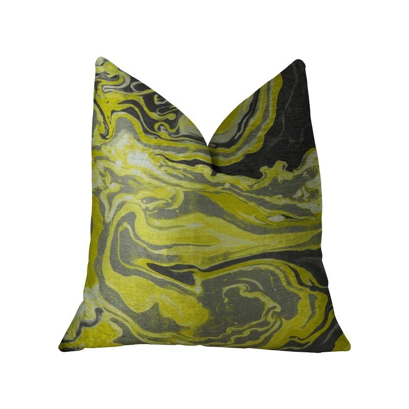 "Plutus Brands Marble Onyx Yellow Gray and Black Handmade Luxury Pillow 24"" x 24"" (PBRAZ378-2424-DP)"
