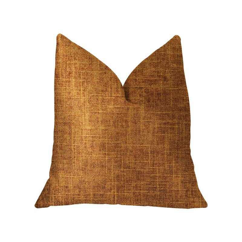 """Plutus Brands Marmalade Brown and Gold Luxury Throw Pillow 20"""" x 30"""" Queen (PBKR1966-2030-DP)"""