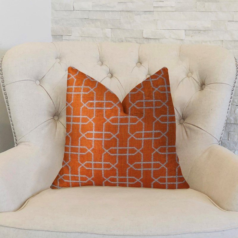 "Plutus Brands Marquette Orange and White Handmade Luxury Pillow 18"" x 18"" (PBRAZ211-1818-DP)"