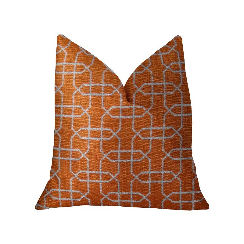 "Plutus Brands Marquette Orange and White Handmade Luxury Pillow 20"" x 20"" (PBRAZ211-2020-DP)"