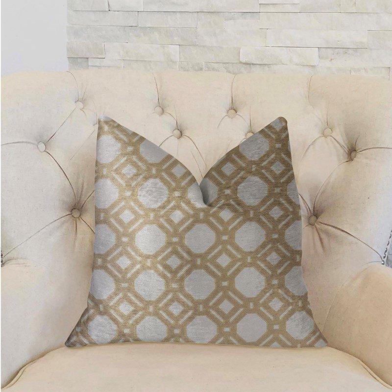 "Plutus Brands Medallion Eclipse Beige and Gray Luxury Throw Pillow 22"" x 22"" (PBRA2245-2222-DP)"