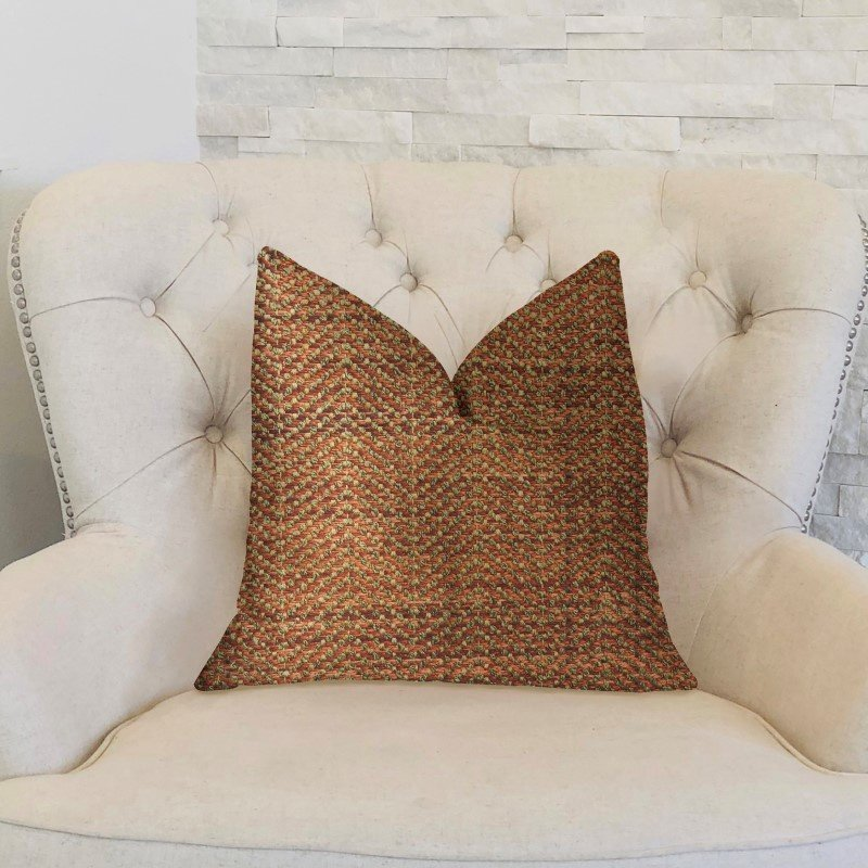 "Plutus Brands Merigold Orange and Gold Luxury Throw Pillow 16"" x 16"" (PBKR1985-1616-DP)"