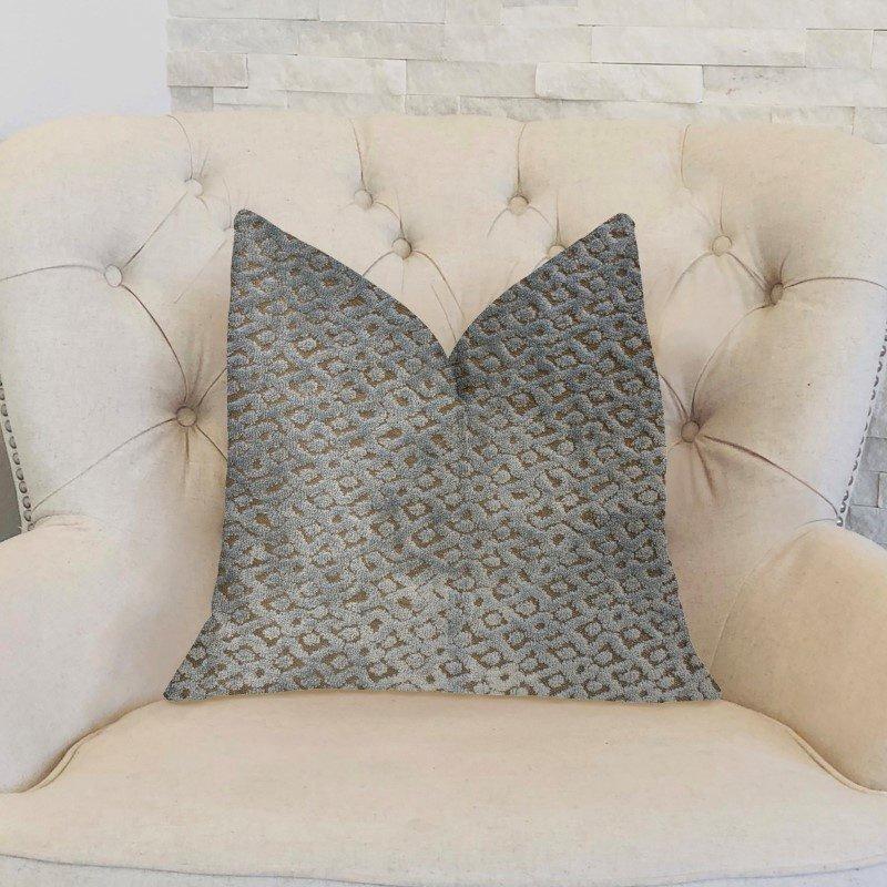 "Plutus Brands Metropolis Silver and Taupe Luxury Throw Pillow 18"" x 18"" (PBKR1916-1818-DP)"