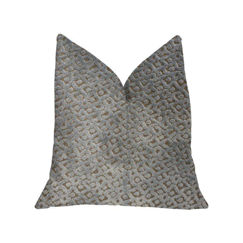 "Plutus Brands Metropolis Silver and Taupe Luxury Throw Pillow 22"" x 22"" (PBKR1916-2222-DP)"