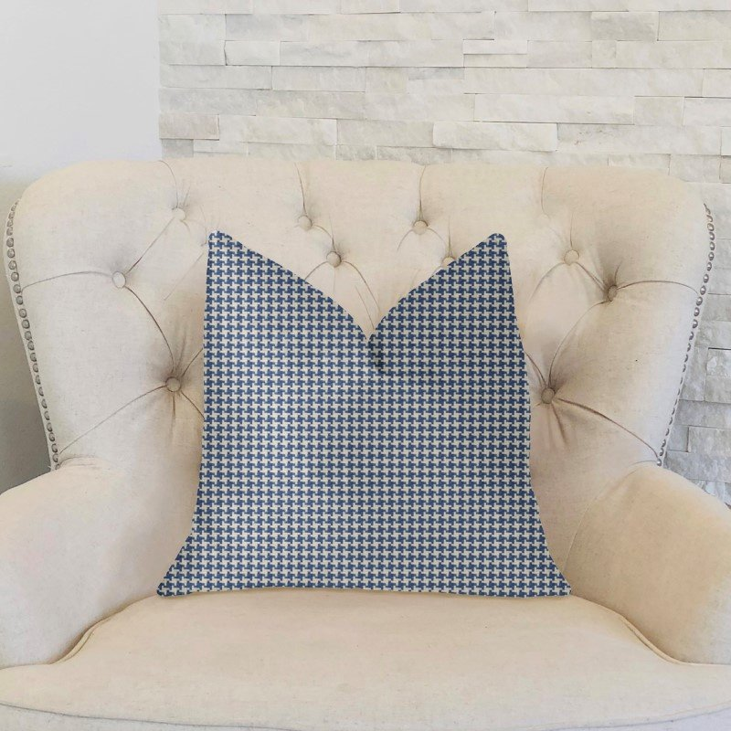 "Plutus Brands Mezmerize Blue Beige and Black Luxury Throw Pillow 20"" x 30"" Queen (PBKR1998-2030-DP)"
